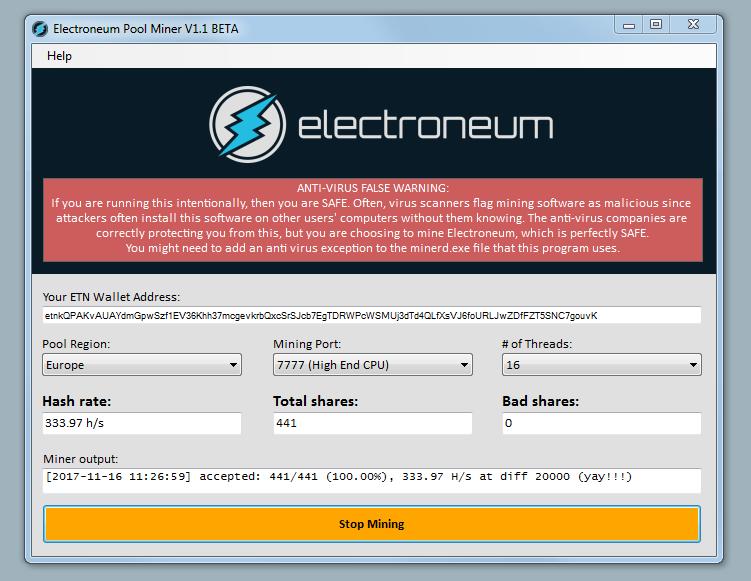 pirmie electroneum mining rezultāti