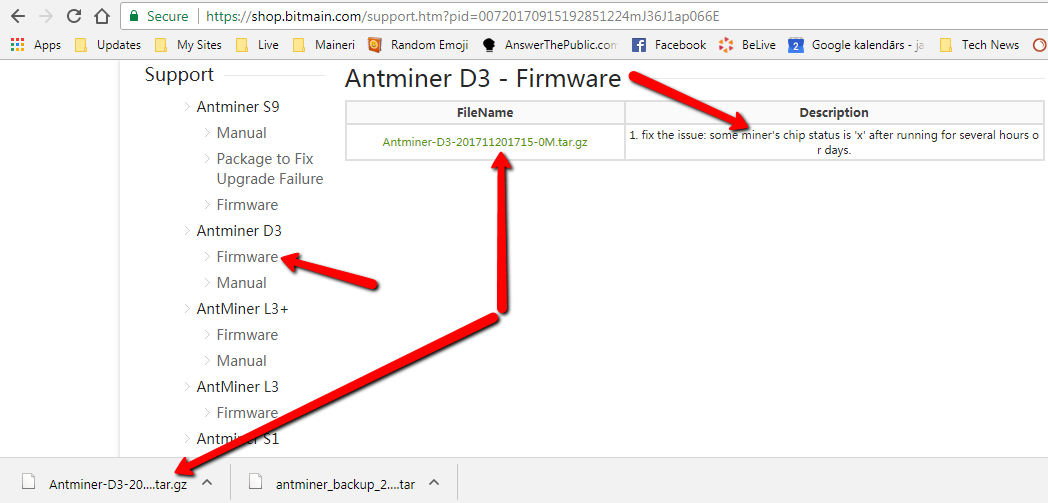 d3 jaunākais firmware bitmain-a lapā