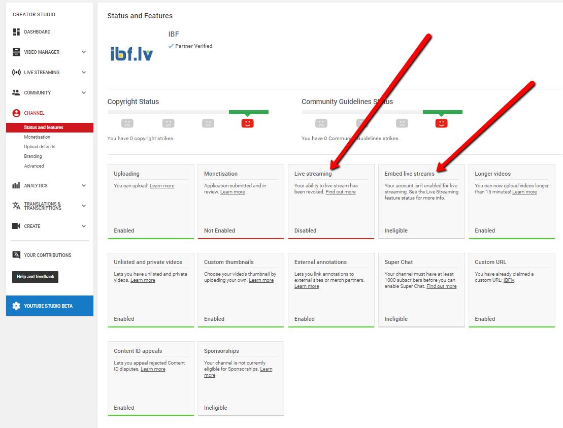 kanāla statusa kosavilkuma lapa arī rāda, ka live streams nav pieejami