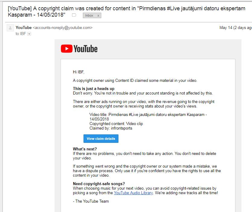 epasts par copyright claim no youtubes puses