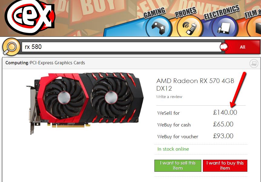 RX 570 var nopirkt pa 140 mārciņām